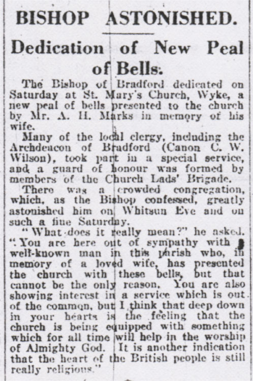 Dedication of Bells
