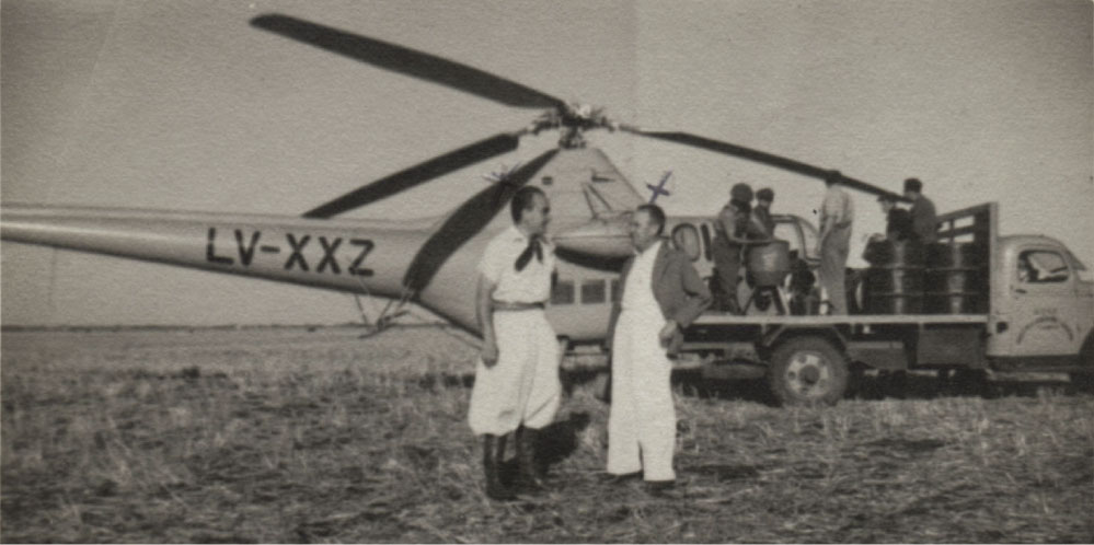 Aerial crop spraying - South America 1950.