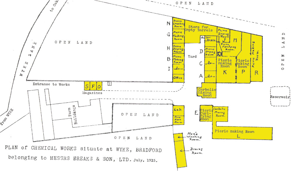 From HM Inspectors Report to Rt.Hon.Sec. of State for Home Dept 13 February 1917. All areas highlighted yellow were completely destroyed.