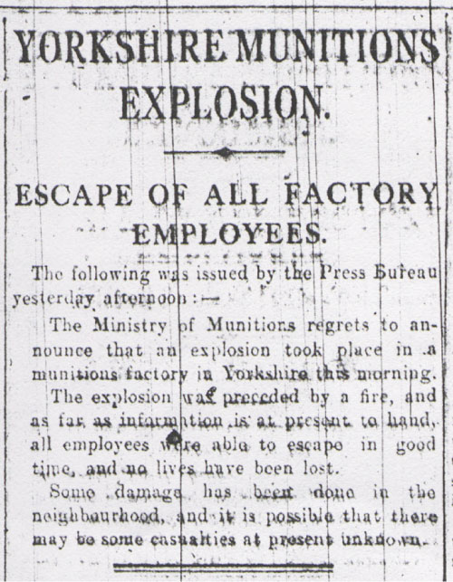 Newspaper articles about the explosion.