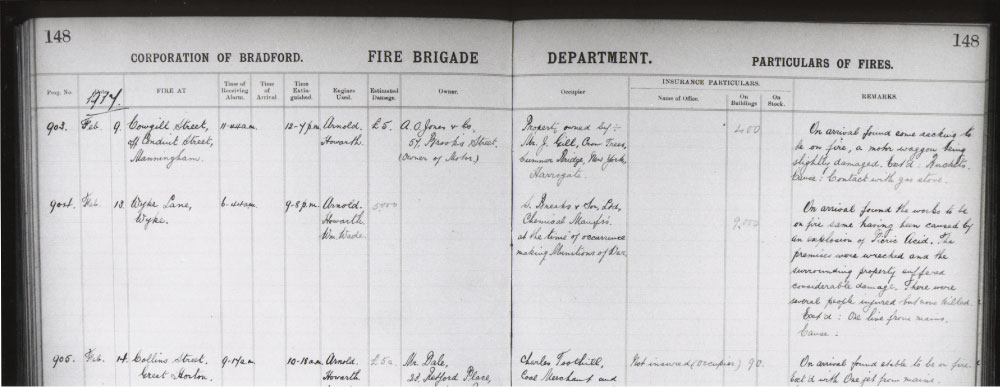City of Bradford Fire Brigade Department particulars of fire - 13 February 1917.