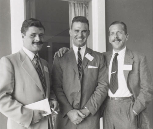 A J Marks with colleagues at conference - 1950s