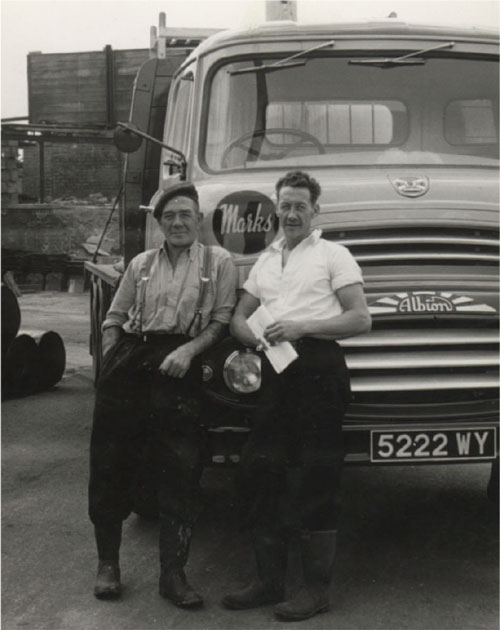 Jack Skollick and Bill Hartley with A H Marks' Albion delivery wagon.