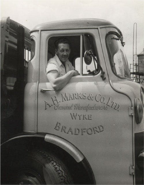 Bill Hartley in A H Marks' Albion delivery wagon.