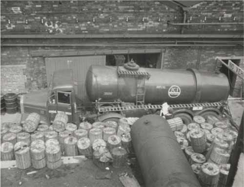 ICI tanker collecting ACPA kegs, 1959.