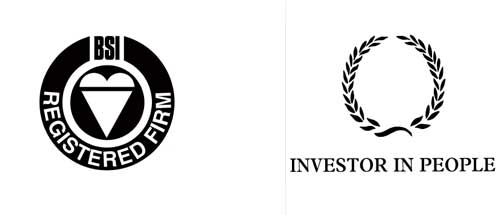 Left: BSI Registered Firm symbol showing the attainment of a number of accreditations. Right: Investors in People.