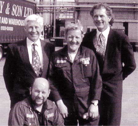 (L to R:) Visit of Barry Seal MEP with Charlie Asquith (seated) & John Ratcliffe, shop stewards and Rhys Marks.