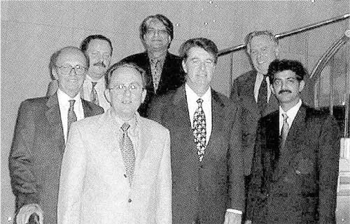 This Photograph was taken at the Chemspec exhibition that was held in 1999 in Basel, Switzerland. A H Marks hosted the meeting and dinner. (L to R:) Dr Carlo Somajni (Inalco, Italy), Dr Jurgen Bartch and Reiner Krarrick (Wirtz Chemie produckte, Germany), Mr Amit Mehta (Finorga, India), Mr Patrick OíBrien (Focus Chemical, USA), Mr Serge Percheron (Creachim, France) and Mr Nitin Kulkani (Finorga, India).