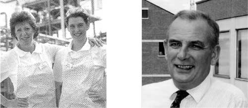 Left: Brenda Saville (left) served up dinners in the canteen for staff, contractors and visitors for over 25 years. Her mother and two daughters Nicola and Natalie (right) also worked in the canteen. Right: Gordon Barker.