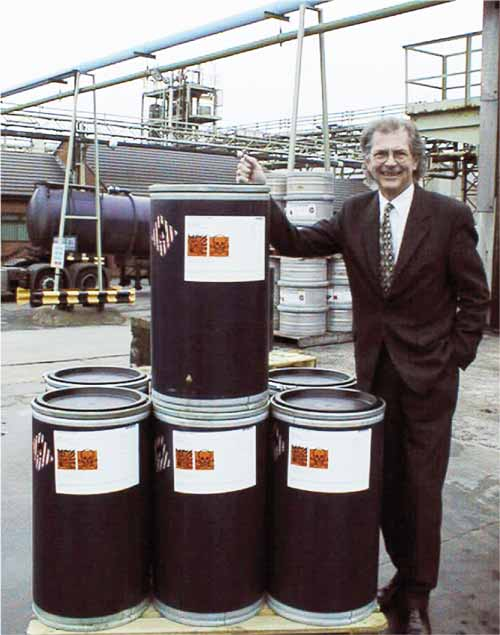 Rhys Marks with the last few drums of Picric Acid that production ceased in 2001 after more than 100 years.This was used in explosives during the two World Wars but continued to be supplied for the dye industry.